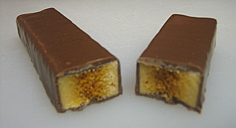 Cadbury Crunchie cross section