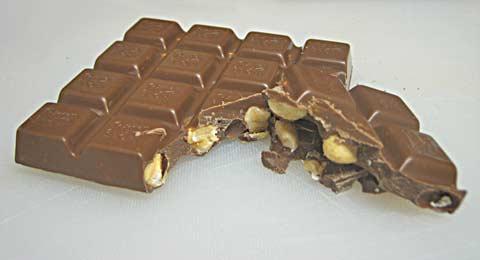 Ritter Sport Milk Chocolate Hazelnut cross-section